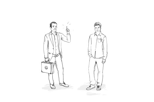 line illustration of people with suitcase