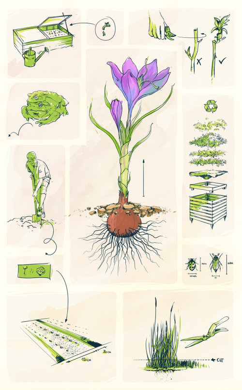 Nature illustration of gardening