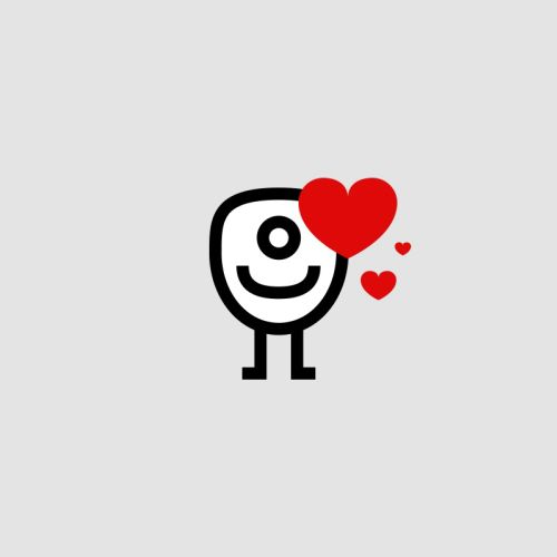 Graphic of vector character with heart