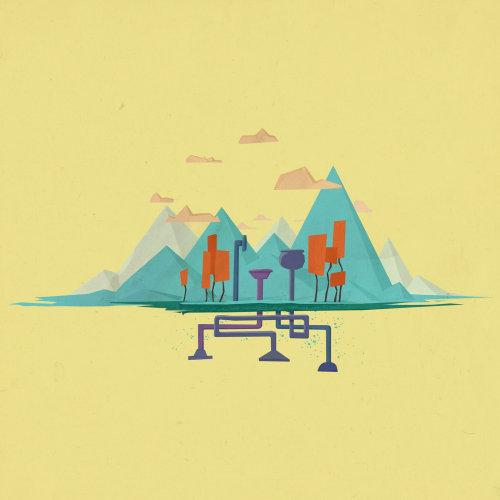 Graphic illustration of hills in desert