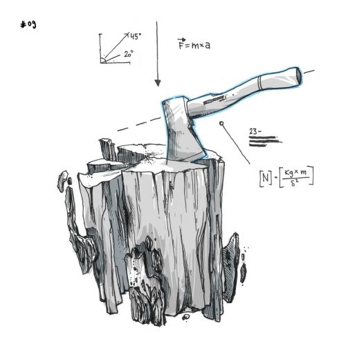 Loose illustration of trunk and axe