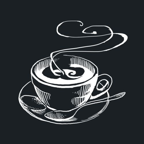 Black & white illustration of coffee cup