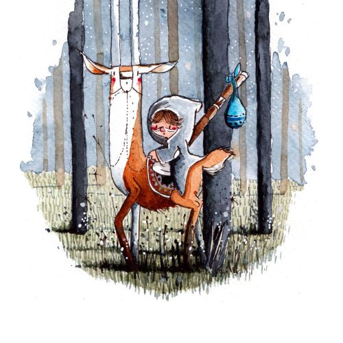 Children's illustration of kid and deer