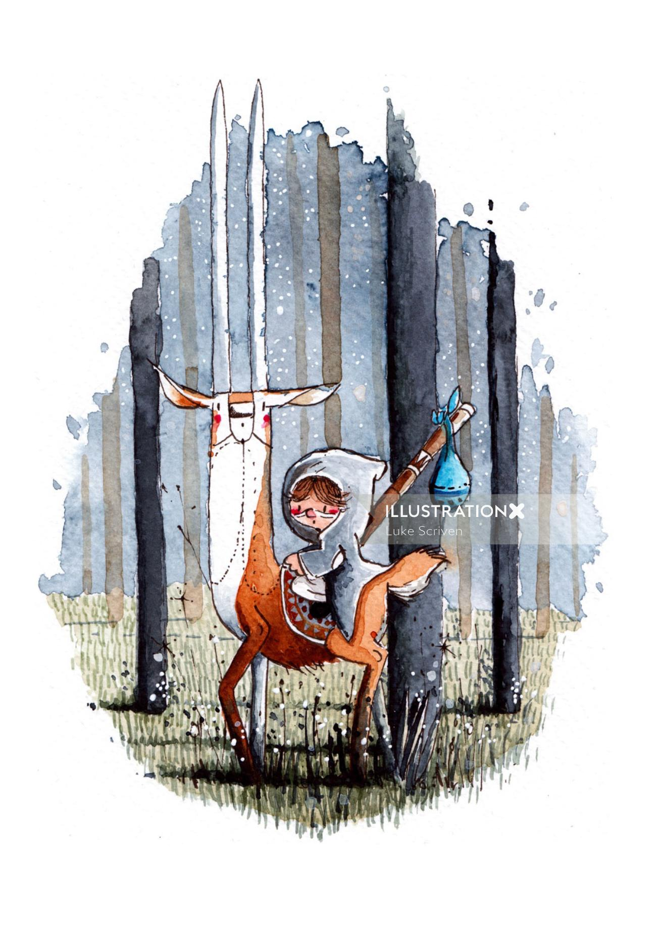 Children's illustration of kid and deer