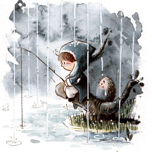 Fishing in the rain watercolour art