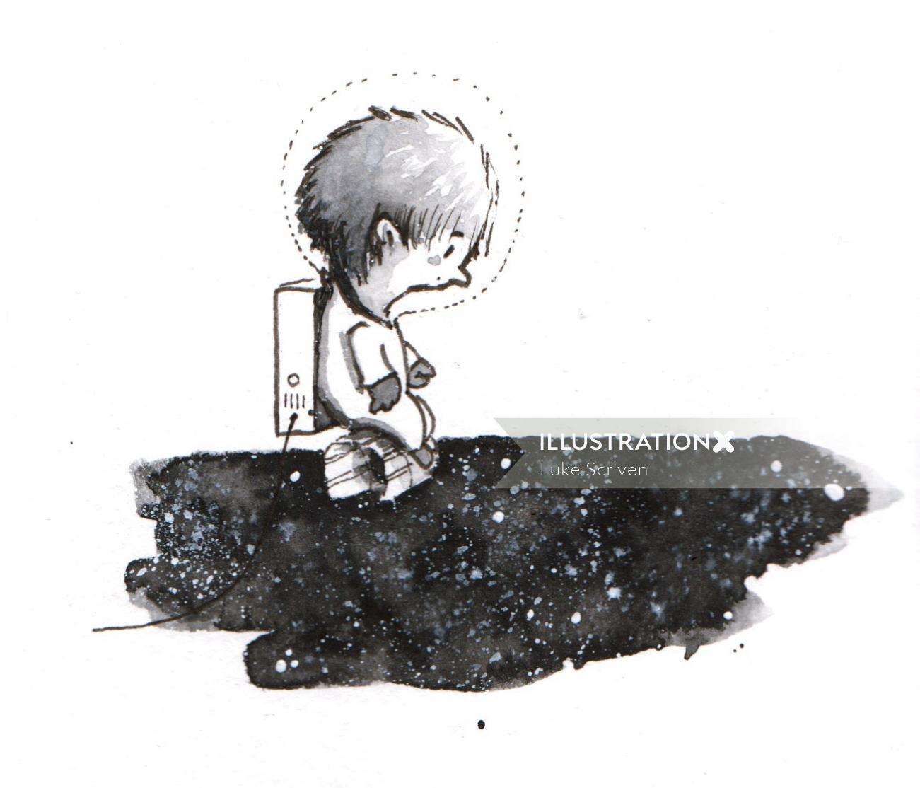 Cartoon character of kid playing on puddle