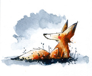 Watercolour painting of little fox