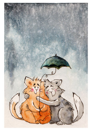 Watercolour painting of cats in love