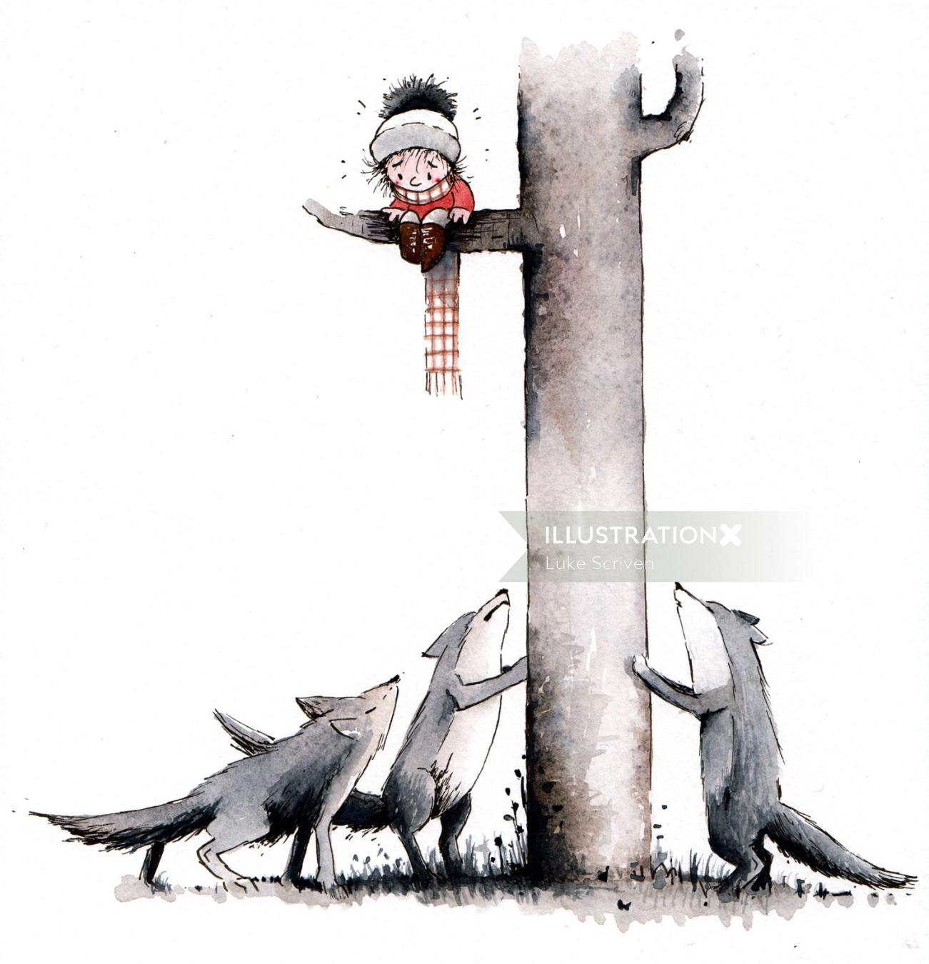 Child on tree branch surrounded by wolves