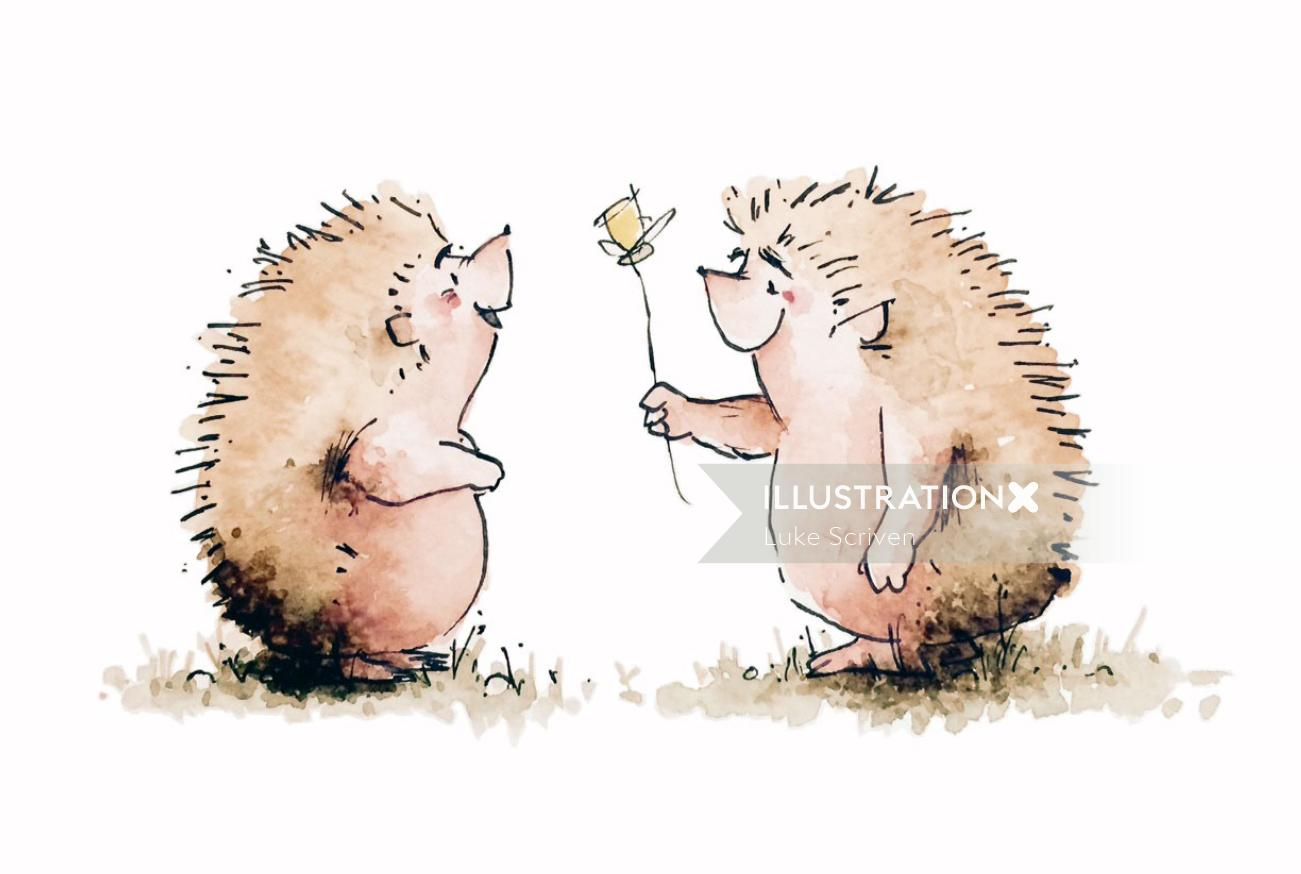 Hedgehog Love Card Design By Luke Scriven