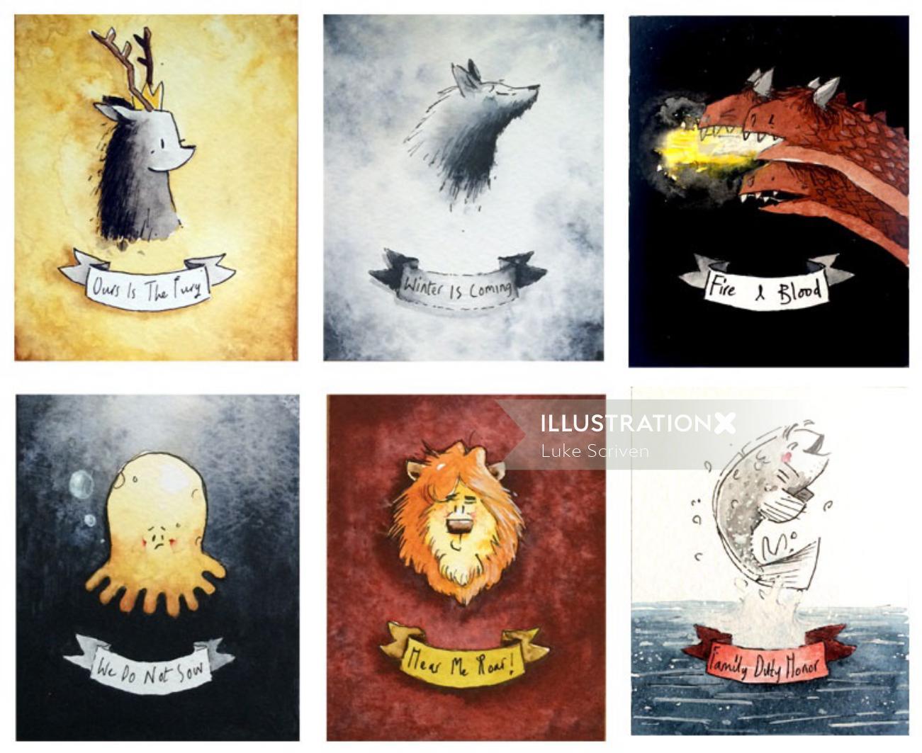 Game of Thrones Sigils Watercolour Art
