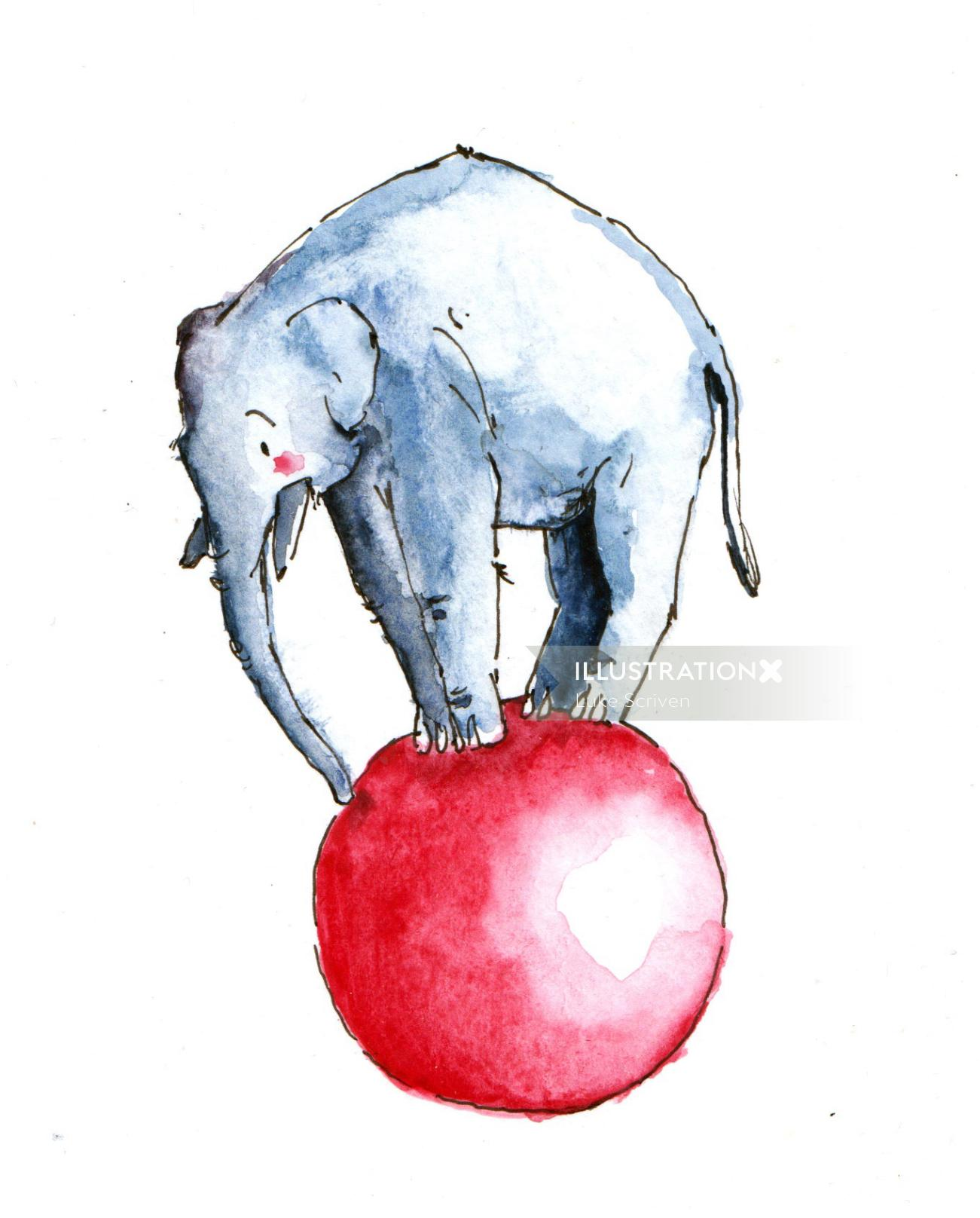 Illustration of an elephant performing circus