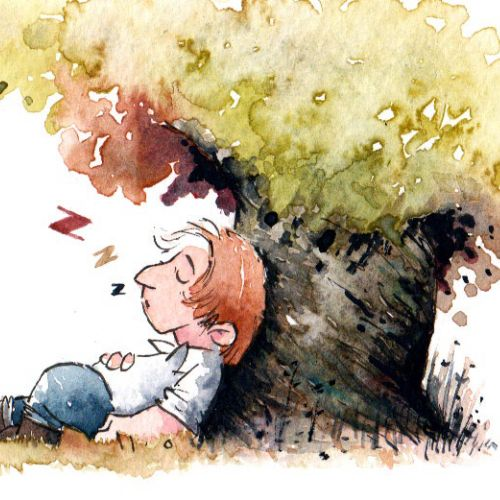 Illustration of man sleeping under a tree