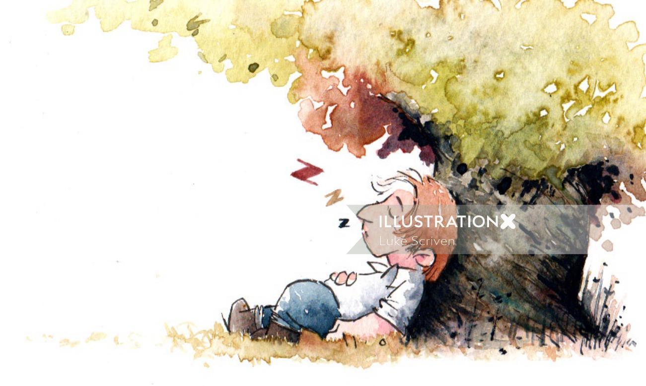 Illustration of man sleeping under a tree