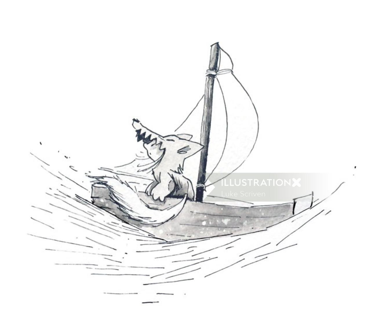Black & white drawing of sail boating