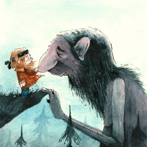 Character art of Ogre and little girl