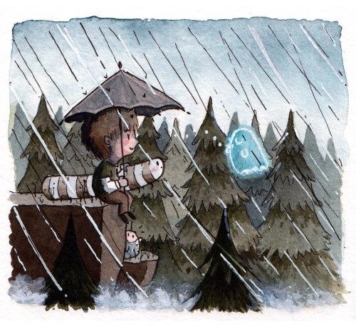 Pequeño niño y fantasma bajo la lluvia