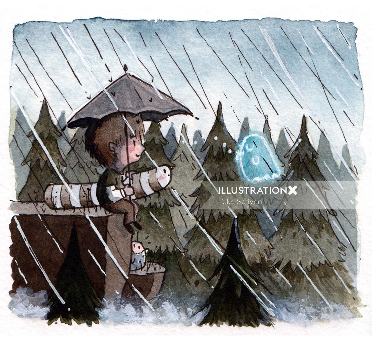 LIttle boy and ghost in rain