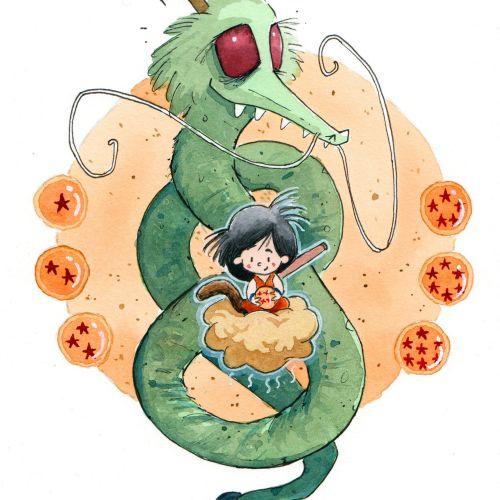 Cartoon Character Of Goku And Shenron