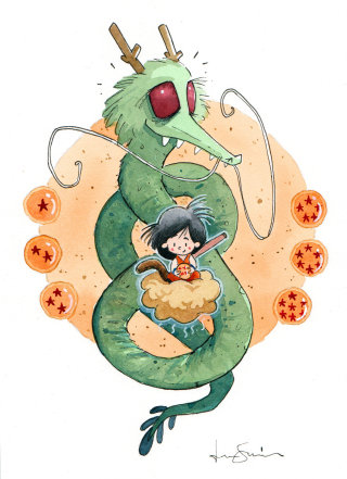 Cartoon Character Of Goku And Shenron