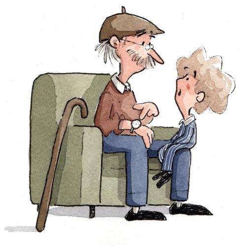 Bebé sentado con oldman