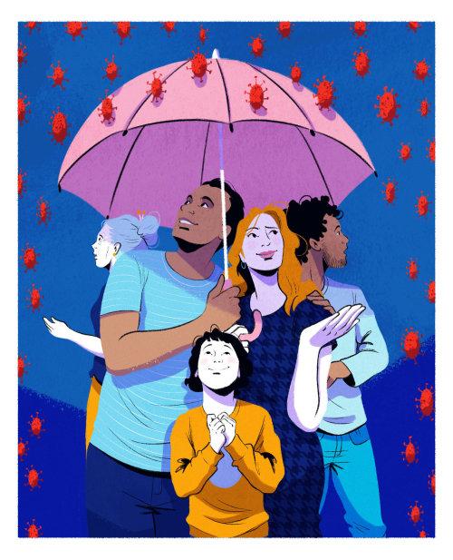 伞下的孩子