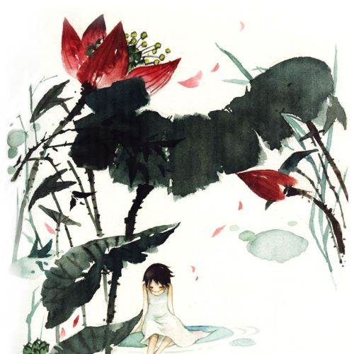 line art of girl sitting in jungle