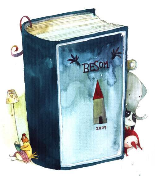besom book watercolor illustration
