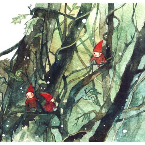 3 red man children book illustration by Mae Besom