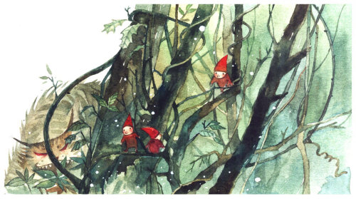 3 red man children book illustration by Mae Besom