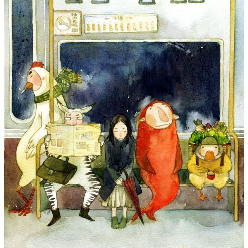 cenceptual illustration of passengers in train