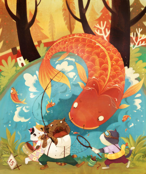 Ballena de dibujos animados en el agua