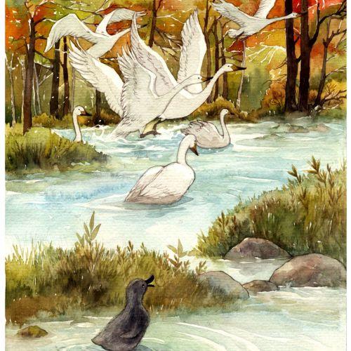 Watercolor painting of lake