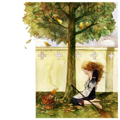 Illustration of sad woman sitting under tree