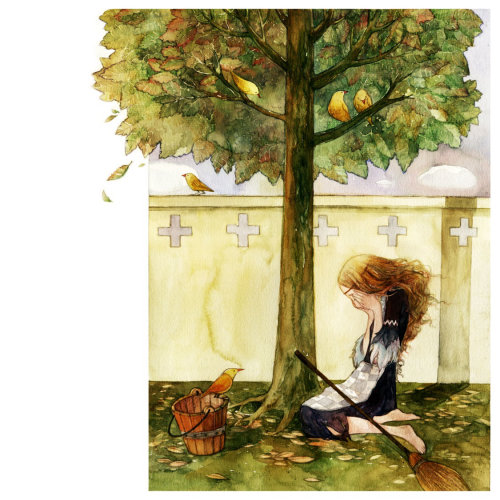 Illustration of sad woman sitting under tree