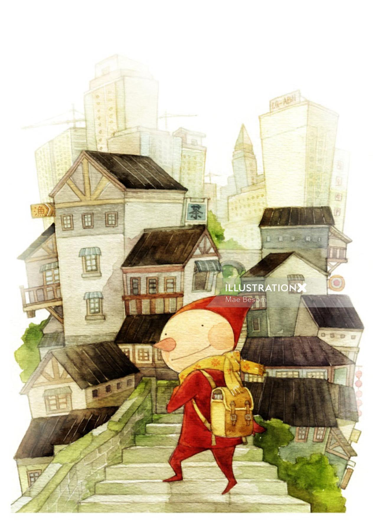 Cartoon character in the city
