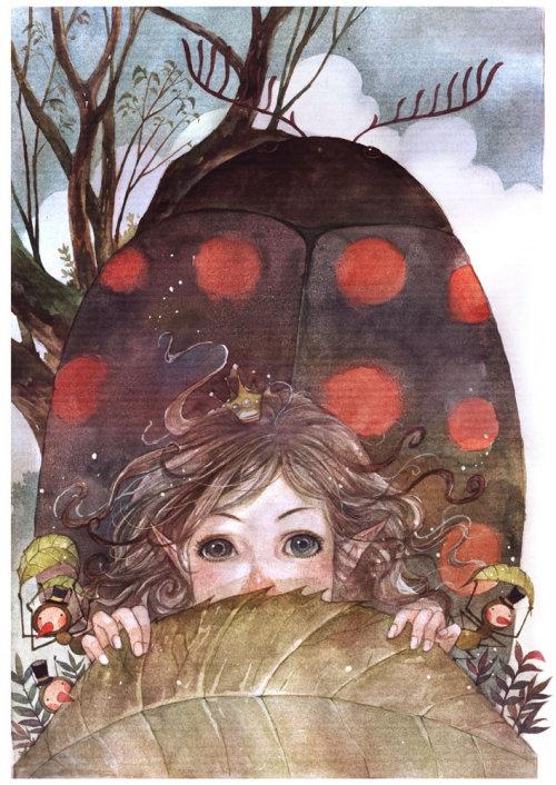 Children girl with big bug