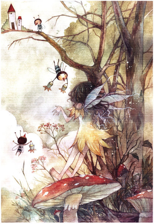 children fantasy illustration palace and fairies