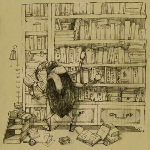 Illustration of crow searching in library