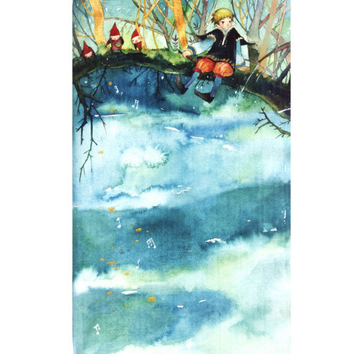Children illustration painting of girl sitting on bridge