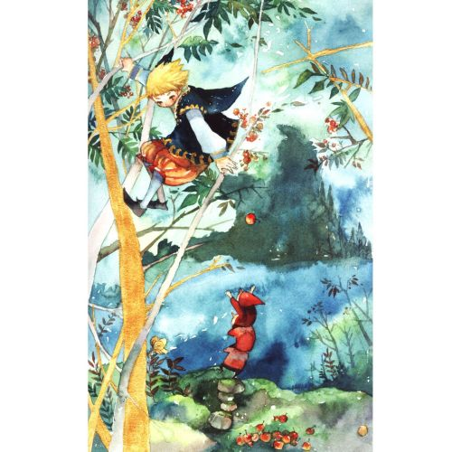 Children illustration painting of girl on tree