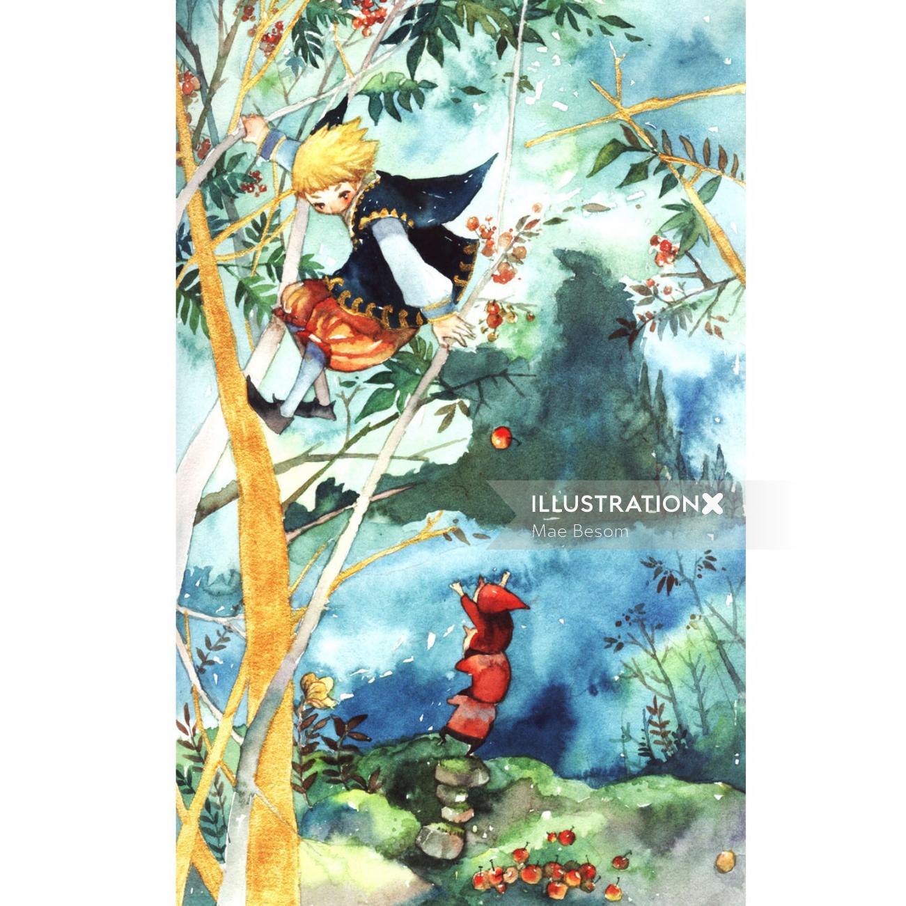 Children illustration painting of girl on tree