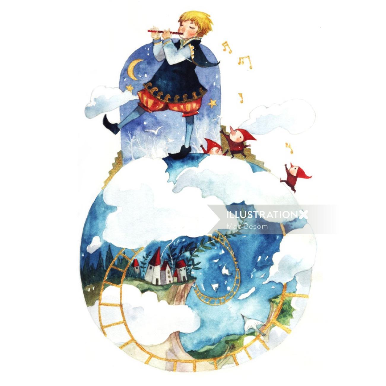 Fantasy illustration of girl playing flute