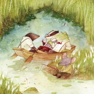 Mice and Frog enjoying pond vacation painting