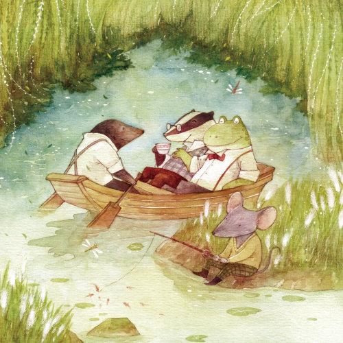 Ratones y rana disfrutando de pintura de vacaciones de estanque