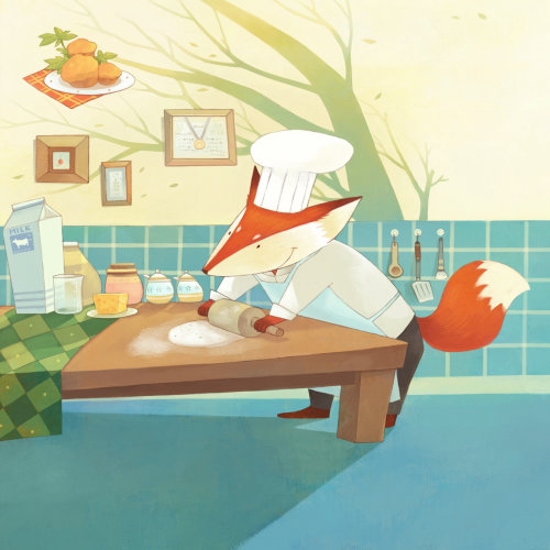 Illustration of chef fox