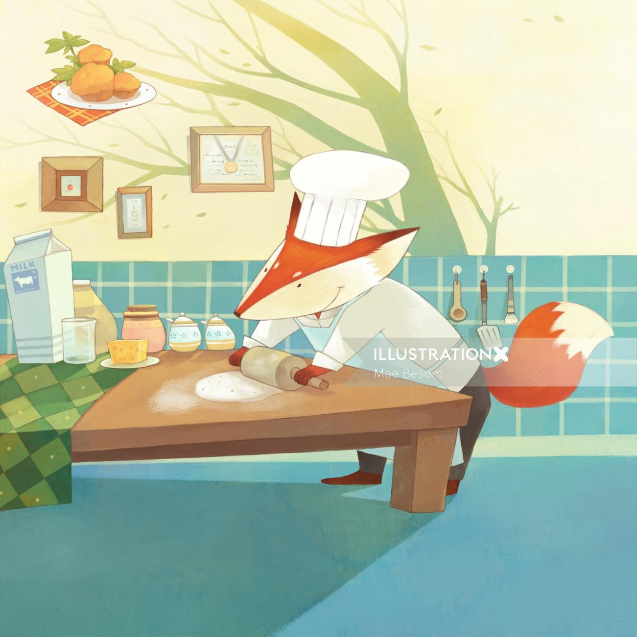 Illustration of chef fox