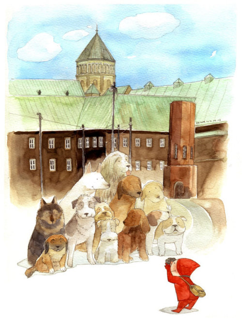 Water colour art of pet dogs for a photo shoot