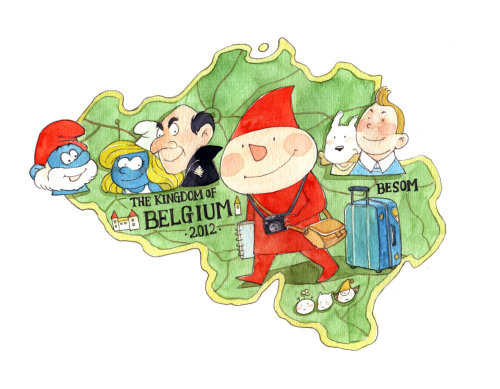 Children cartoon characters illustration on map