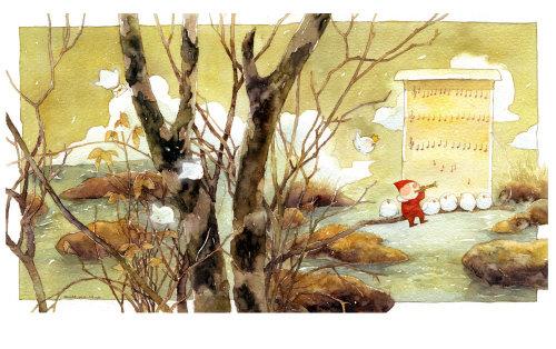 Pintura de un Santa sentado en la rama de un árbol